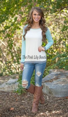 Keep It Simple Baseball Tee Mint CLEARANCE - The Pink Lily Boutique