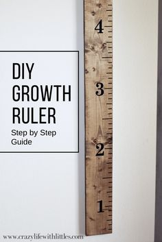 Woodworking For Kids DIY Growth ruler for kids! Such a fun way to keep track of children's height. - Sharing a super easy DIY Growth Ruler that anyone can make using common board, some stain, and an easy to apply vinyl decal set. Kids Woodworking Projects, Wood Projects For Kids, Wood Projects For Beginners, Wood Working For Beginners, Woodworking Crafts, Woodworking Plans, Woodworking Furniture, Diy Projects, Wood Furniture