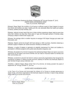 La Conner, WA - Mayoral proclamation recognizing Diaper Need Awareness Week (Sept. 28 - Oct. 4, 2015) www.diaperneed.org #DiaperNeed