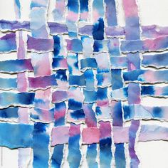 Watercolor woven paper collage in blue and violet shades by Liliya Rodnikova - Art, Collage - Stocksy United Paper Weaving, Weaving Art, Abstract Paper, Watercolor Paper, Weaving Projects, Art Projects, Homemade Art, Art Lessons For Kids, Art Journal Techniques