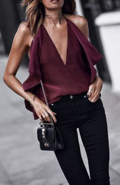 #fall #outfits women's maroon halter top and black jeans