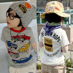 Hot Sale 2014 New Children's Clothing Kids Clothes Boys Cartoon Car Print Short Sleeve T Shirt Boys t-shirts Summer Fashion Top $5.34