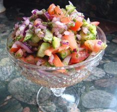 X  Persian Salad - I love this stuff. Its fresh and easy to make. Tastes very similar to tabouli but without the bulgar wheat. I got hooked on it after trying some at my local mediterranean restaurant. This recipe didn't call for it but I put diced green bell peppers in mine because thats how the restaurant did it. tasty...