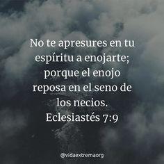 No te apresures en tu espíritu a enojarte; porque él enojo reposa en el seno de los necios. Eclesiastés 7:9 #Biblia #Temperamento #Paz #VidaExtremaOrg