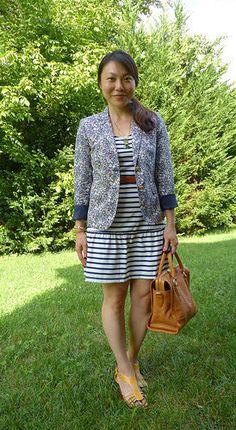#jcrew blazer #oldnavy dress #anthropologie necklace belt #target wedges #pourlavictoire bag