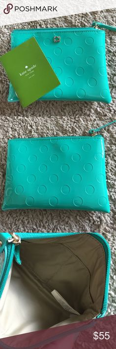 Kate Spade ♠️ pouch in Aqua Green👗 Pics are showing the true color. It's more of a greenish Aqua than a dark mint as shown. 2 slide pockets inside. Measurements coming... kate spade Bags Mini Bags