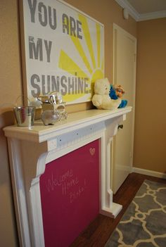 You Are My Sunshine Art--I LOVE this song and want this for my living room. cornflower blue letters, and yellow sun! Living At Home, My Living Room, My New Room, My Room, Faux Fireplace, Up House, You Are My Sunshine, Hello Sunshine, Kids Decor