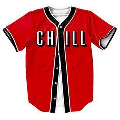 Men's Baseball-Style 3D CHILL Print Jersey S-3XL
