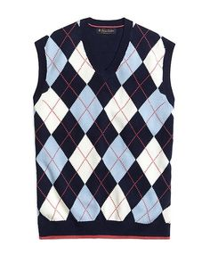 Navy Argyle Sweater Vest for Men www.yookstore.net | Cardigans For ...