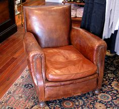 French leather chair circa 1920.  Why can't someone make a recliner that looks this good?