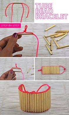 Tube Bead Bracelet #Neon #Gold #DIY #ArmCandy frugal-nomics.com