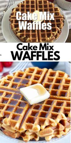 Waffle Mix Recipes, Easy Waffle Recipe, Cake Mix Recipes, Dessert Recipes, Waffles Recipe For 2, Stuffed Waffle Recipe, Best Belgian Waffle Recipe, Waffle Batter Recipe, Deserts