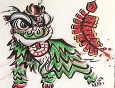 Happy Chinese New Year everyone!   Acrylic traditional lion head painting