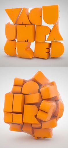 Great bit of 3D type.   http://www.behance.net/txaber