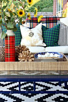plaid pillows, outdoor living area, coffee table styling, fall decorations, patio, s'mores, bamboo coffee table, vintage plaid thermos
