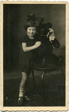 Vintage girl and teddy bear by MementoMori-stock.deviantart.com on @deviantART