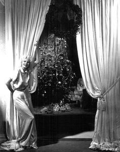 Jean Harlow with glam Christmas tree! 1930s
