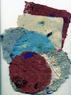 Five sheets of handmade paper,variety of shapes and sizes,handmade paper,OOAK paper art, pulp paintings,textured unique paper,shaped paper