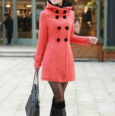 Pink Singlebreasted Winter Coat/Woman coat/ by Eloneeclothing, $65.00