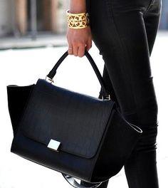 celine purses on sale - CELINE NEW Auth Gray Trapeze Large Leather Calfskin Suede Purse ...