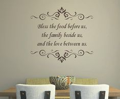Hey, I found this really awesome Etsy listing at https://www.etsy.com/listing/151454190/kitchen-quote-wall-decal-bless-the-food