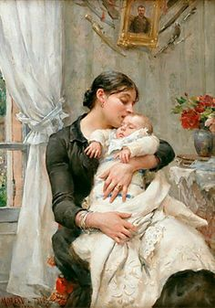 """""""The Young Mother:Tender Affection"""" -- Georges Moreau de Tours (1848 – 1901, French)"""