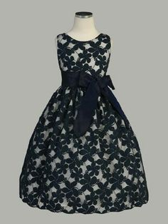 navy blue flower embroidered lace dress for the flower girl