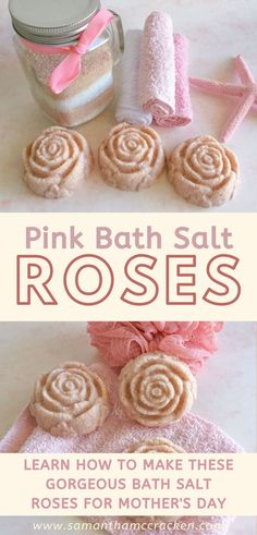 These beautiful rose-shaped bath salt cakes are made with pink Himalayan salt to produce a gorgeous pink hue. This easy recipe makes a great homemade Mother's Day gift. Lip Scrub Homemade, Homemade Soap Recipes, Homemade Mothers Day Gifts, Homemade Gifts, Melt And Pour, Natural Body Scrub, Pink Baths, Rose Bath, Bath Salts