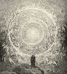 Dante and Beatrice see God as a point of light surrounded by angels; from Gustave Doré's illustrations for the Divine Comedy
