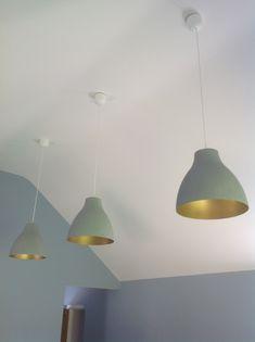 Ikea hack. Melodi white plastic lampshades transformed                                                                                                                                                                                 More