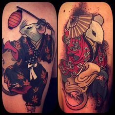 Two gorgeous Japanese mouse tattoos by Alix Gé. Japanese Dragon Tattoo Meaning, Japanese Tiger Tattoo, Japanese Tattoos For Men, Japanese Dragon Tattoos, Japanese Tattoo Designs, Japanese Sleeve Tattoos, Small Japanese Tattoo, Irezumi Tattoos, Leg Tattoos