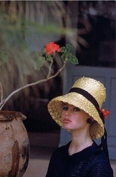 Bridgette #Bardot. 1960. Photography by Nicolas Tikhomiroff, #Strawhat I love the way she wore such a variety of hats so flawlessly. Such style!