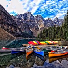 Kayaks await you at Lake Moraine in Banff National Park, #Canada, which also has some of our strangest lakes. Photo courtesy of missjetsetter on Instagram.