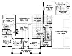 Love this layout. Love the separation of bedrooms, the bathroom in the 4th room for guests, and I would make the office a large pantry. Perfect!