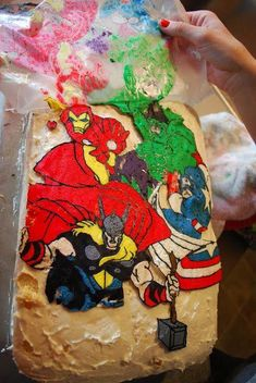 Sunshine and a Summer Breeze: Avengers Birthday Cake. How to turn any favorite coloring book page into a cake topper.a couple times. Hope it's as easy as she makes it out to be. Cake Cookies, Cupcake Cakes, Mlp Cake, Avengers Birthday Cakes, Cake Decorating Tips, Cake Tutorial, Let Them Eat Cake, Cake Designs, Amazing Cakes