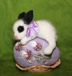 Items similar to Needle Felted/ miniature sculpture/ hare/ bunny on egg/ rabbit/ Easter /handmade gift on Etsy Needle Felted Animals, Felt Animals, Nuno Felting, Needle Felting, Felt Crafts, Easter Crafts, Miniature Rabbits, Spring Projects, Felt Decorations