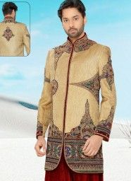 Unrivalled Brown Pure Silk & Banaras Indo Western With Velvet Fancy Patiala