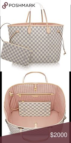 Louis Vuitton Neverfull Damier Azur Neverfull GM Louis Vuitton Damier Azur Neverfull GM in Rose Ballerine . 💯 % authentic and brand new without tags. Perfect condition. Never used this, it has just been sitting in box in my closet. Rare rose ballerine interior and iconic timelsss luxury bag. Louis Vuitton Bags Totes
