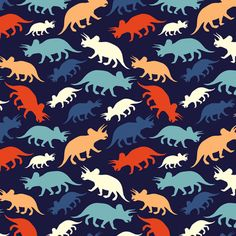 Tiny Dinosaurs - Navy fabric by elizabeth on Spoonflower - custom fabric