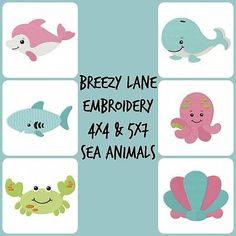 Sea Animal Digital Embroidery Machine Design Set 4X4 & 5X7 on CD