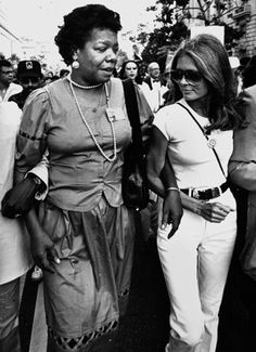 Maya Angelou and Gloria Steinem, DC march, 1983. Pic by J. Thresher.