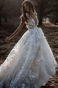 Gorgeous Wedding Dresses Lace Up Off The Shoulder With Appliques And Handmade Flowers Online – jolilis Fairy Wedding Dress, Cute Wedding Dress, Country Wedding Dresses, Long Wedding Dresses, Tulle Wedding, Bridal Dresses, Mermaid Wedding, Wedding Country, Gypsy Wedding