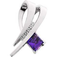 Spectrum of Color Fancy rhombic cut amethyst with diamonds in 14kt white gold