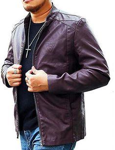 f7a9e902d9d LIERDAR Men s Casual Zip-Up Faux Leather Jacket Outfit Best Leather Jackets