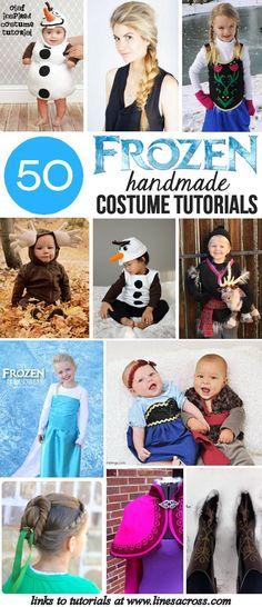 50 DIY Frozen Costumes - 50 Tutorials for handmade Frozen costumes and accessories. Pin now for Halloween!