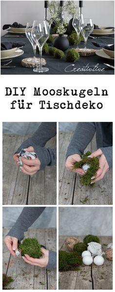 DIY Mooskugeln für festliche Tischdeko