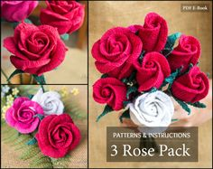 Inside youll find a 3 crochet patterns for 3 beautiful stem crochet Roses. Each e-book includes pattern diagram, instructions in American Standard Terms, and a step-by-step guide with photos (300dpi) that will show you how to crochet your own glorious roses. This 3 Rose blossom were designed to work together and depict the same rose type in its three common stages : Closed, Open and Half open. This would allow you to create beautiful Rose Bouquets or Arrangements.   Each blossom, by itself…