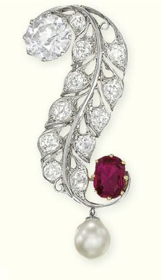 Edwardian Diamond, Pearl and Ruby Brooch circa 1910