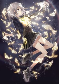 Hikari by famepeera (This reminds me of Tokyo ESP. There are the golden fishes entering the human body and a girl with almost white hair.)