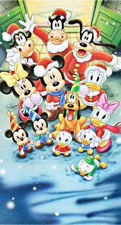 ミッキーの仲間たちのクリスマス iPhone壁紙 Wallpaper Backgrounds iPhone6/6S and Plus Mickey Mouse Christmas